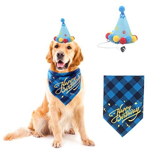 PUPTECK Dog Birthday Bandana Scarfs with Cute Doggie Birthday Party Hat -