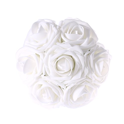 Ling's moment Bouquet Flowers 50pcs Latex Real Touch White Artificial Roses for Bouquets Centerpieces DIY Wedding Decorations