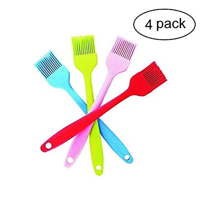 Silicone Basting Pastry Brushes set of 4 Heat-Resistant Kitchen Oil Utensil with Stainless Steel Core for Cooking Baking Basting Butter Making Pastry Grilling Marinating (Red Orange Blue Green)