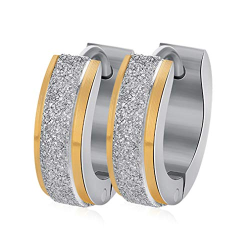 Huggie Childrens Earrings - TraveT Scrub Stainless Steel Small Hoop Earrings Fashion Titanium Steel Earrings Jewelry Gift for Women Ladies Girls