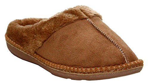 A&H Footwear Womens Ladies Ultra Light Memory Foam Slip On Warm Faux Fur Lined Girls Winter Cosy Mules Slippers UK 3-8 Beige