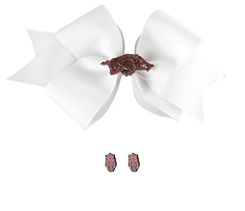 Sports Accessory Store Arkansas Razorbacks Rhinestone Charm White Hair Bow and Post Earrings Gift Set
