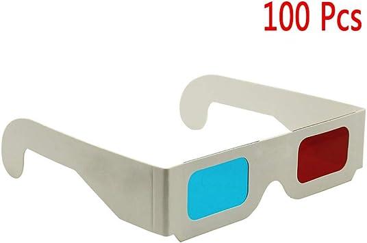 Gafas 3D Rojo Azul, 100 Piezas Gafas De Cartón Gafas 3D para ...