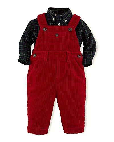 Ralph Lauren Polo Boys Plaid Shirt & Corduroy Overall Set (3 Months)