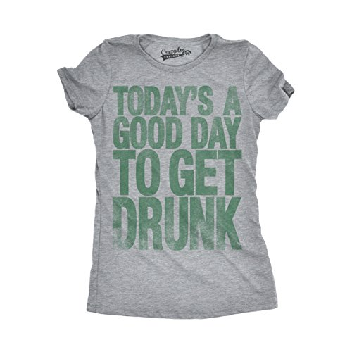 Womens Good Day to Get Drunk Funny Drinking Beer St. Patrick's Day T Shirt (Grey) S -