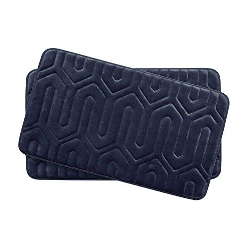Bounce Comfort Extra Thick Memory Foam Bath Mat Set - Thea Premium Plush 2 Piece Set with BounceComfort Technology, 17 x 24 in. Indigo -  YMF Carpets Inc., YMB003726