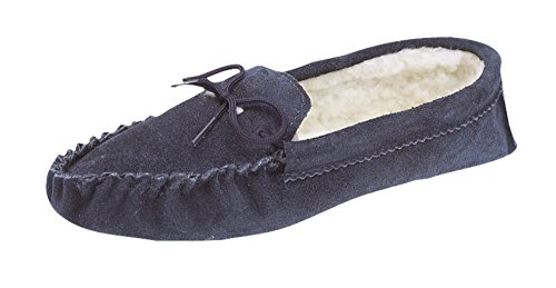 Mens Thermal lined Real suede leather Moccasins with soft suede sole Navy