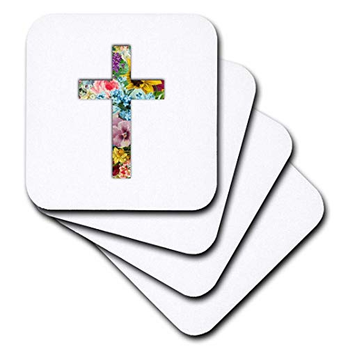 3dRose Floral Christian Cross. Colorful Girly Flower Pattern Religious Symbol - Soft Coasters, Set of 8 (CST_185474_2) ()