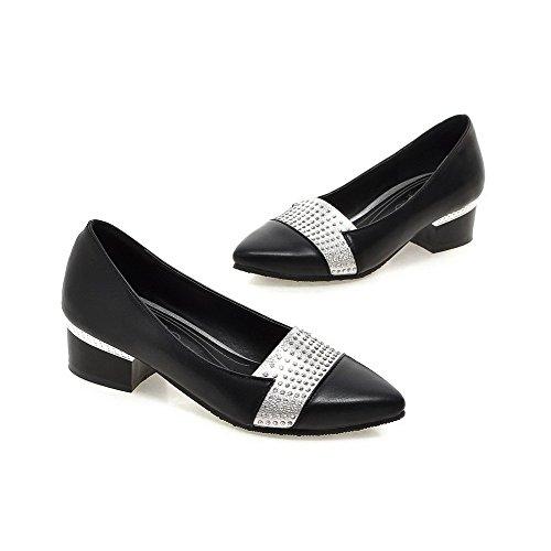 Pointu Légeres Cuir Chaussures à Noir PU Femme Couleurs Mélangées Talon Bas AllhqFashion Tire q4xBP4