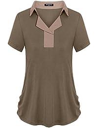 Womens Chiffon Lapel Collar V Neck Short Sleeve Casual Polo Shirt