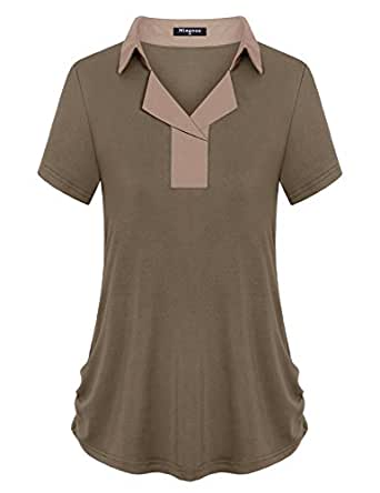 Miagooo Casual Tops, Womens Blouse Plain Feminine Sexy Deep V Neck Short Sleeve Tunic Shirt Designer Elegant Tshirt Female Clothes(Mocha,Small)