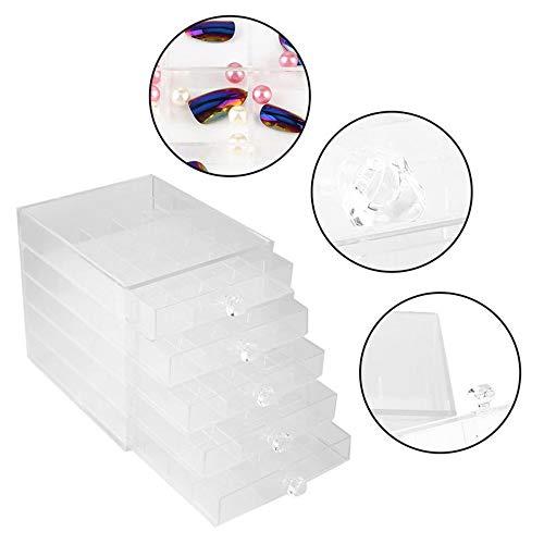 LIKEAD Caja De Almacenamiento Joyería para Uñas Transparente 5º Piso Cajón Type100 Rejilla Organizador Esmalte Uñas...
