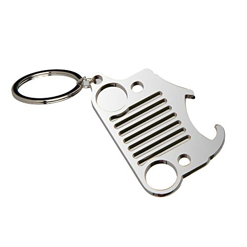 EVAPLUS Car Key Chain Key Ring with Bottle Opener for Jeep Wrangler Accessories Enthusiasts-Jeep Front Grille Design and Stainless Steel Material Silver
