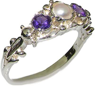 925 Sterling Silver Cultured Pearl and Amethyst Womens Trilogy Ring - Sizes 4 to 12 Available