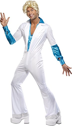 Smiffys Men's Disco Man Costume, All in one Jumpsuit with Attached shirt, 70 Disco, Serious Fun, Size L, 33346 -