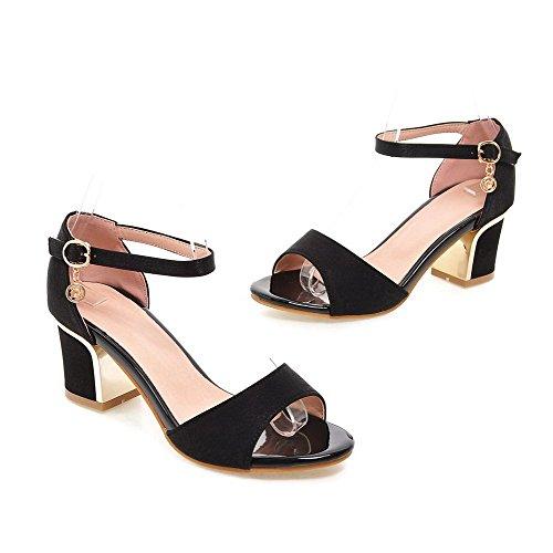 VogueZone009 Women's Open Toe Kitten-Heels Soft Material Solid Buckle Sandals Black KEZ7f