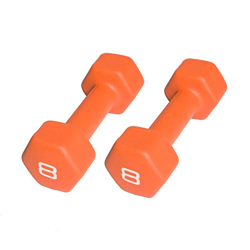 CAP Barbell Neoprene Coated Dumbbell (Pair), 8 lb., Orange