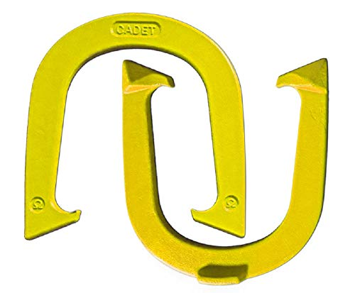 Light Weight Cadet Pitching Horseshoes - Yellow Finish - NHPA Sanctioned for Tournament Play - Drop Forged Steel - One Pair (2 -