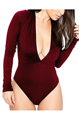 [PinkWind Women's V-neck Stretch Bodycon Leotard Jumpsuits Bodysuits L Wine Red] (Stretch Jumpsuit)