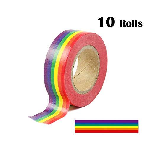 0.6 Inches x 11 Yards Rainbow Color Washi Tape Masking Tape DIY Decorative Tapes, 10 Rolls (Horizontal Pattern)