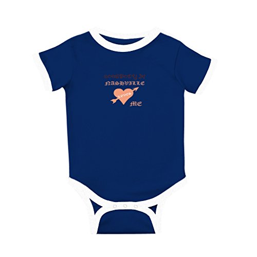 fan products of Cute Rascals Somebody in Nashville Loves Me Cotton Short Sleeve Crewneck Unisex Baby Soccer Bodysuit Sports Jersey - Royal Blue, 6 Months