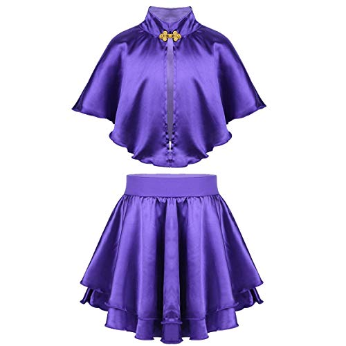 dPois Kids Girls' Greatest Showman Anne Wheeler Costume Cape Top with Skirt and Wristband for Halloween Cosplay Party Purple 2-4]()