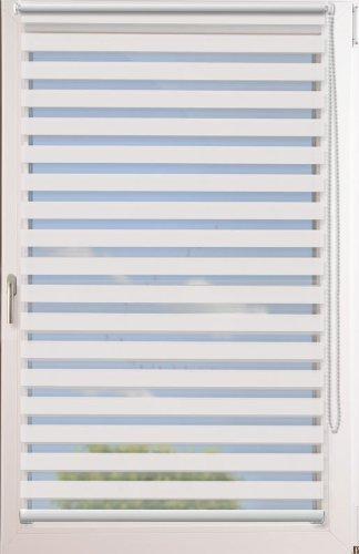 Doppelrollo Uni  OHNE BOHREN mit Klemmträger  Farbe  weiß  Größe  65x220cm (Stoffbreite x Höhe)