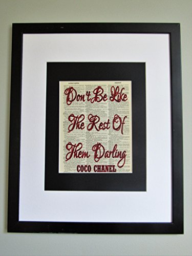 Don't Be Like The Rest Of Them Darling Coco Chanel Quote On Upcycled Vintage Dictionary Page Wall Décor - Chanel Original Designs