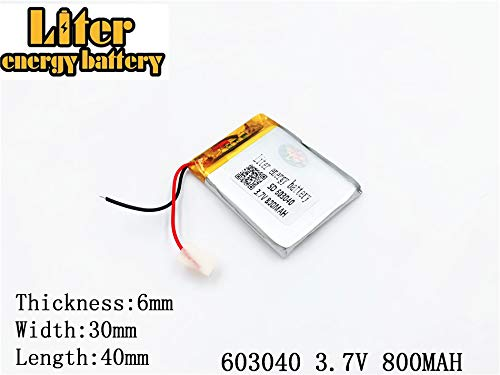 3.7V 800mAh 603040 Lithium Polymer Ion Rechargeable Battery Lithium Polymer Li-Po Battery for MP4 GPS MP3 Bluetooth Stereo DIY GIF