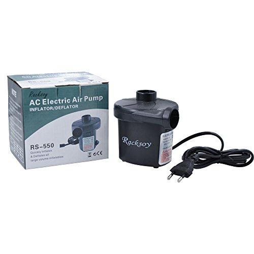 Racksoy Elektrische Luftpumpe Inflator/Deflator 150W für schnelles Auf- & Abpumpen mit drei Aufsätzen EU Stecker