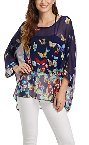 Vanbuy Womens Butterfly Print Batwing Sleeve Top Chiffon Poncho Flowy Loose Sheer Blouse Shirt Tunic Z336-43-4368 Butterfly Print Tank Top