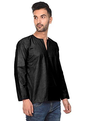 Kurta Robe Indienne Chemise Décontractée Pour Les Hommes Coton Longue Robe De Yoga Manches Noir Casual
