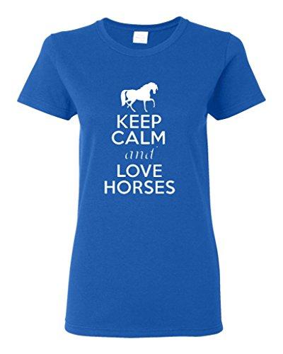Ladies Keep Calm And Love Horses T-Shirt Tee