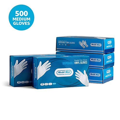 Disposable Vinyl Gloves Powder Free Latex Free Allergy Free Multi-Purpose Heavy Duty Super Strength Cleaning Gloves Food Grade Kitchen Gloves (500 Medium Gloves)
