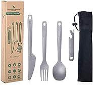 Boundless Voyage Titanium Cutlery Set Ultralight Utility Flatware Utensil 4 Pcs Set Spoon Fork Knife Bottle Op