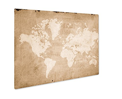 (Ashley Giclee Vintage World Map Retro Paper Ancient History World Map, Wall Art Photo Print On Metal Panel, Sepia, 24x30, Floating Frame, AG5810842)