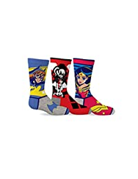 DC Comics Girl's Super Heroes & Harley Quinn 3-Pack Crew Socks
