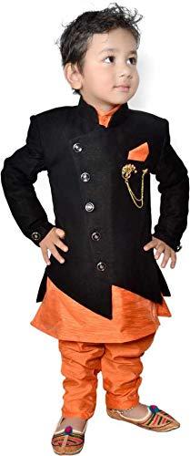 Boys Festive & Party Kurta, Waistcoat and Pyjama Set (Orange Pack of 1) (6-12 Months)