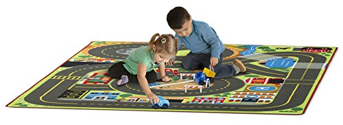Roadway Activity Rug With 4 Wooden Traffic Signs (79 x 58 inches) (Activity Carpet)
