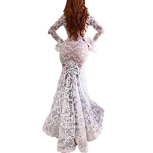 Sexy Bodycon Lace Dress, QIQIU Women's V-Neck Mermaid Beach Long Sleeve Wedding Cocktail Prom Gown Dress White