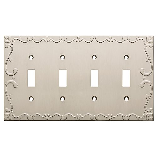 - Franklin Brass W35080-SN-C Classic Lace Quad Switch Wall Plate/Switch Plate/Cover, Satin Nickel