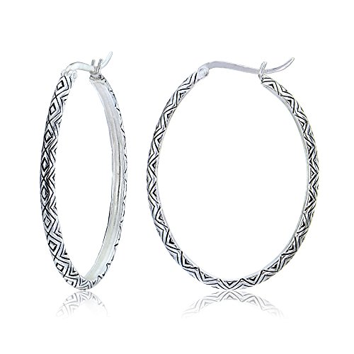 Etched Design Oval Hoop Earrings One Pair Set (Sterling Silver /Yellow Gold Flash/ Rose Gold Flash) (Gold Earrings Etched Hoop 14k)