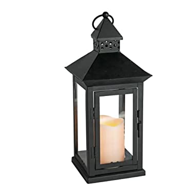 Everlasting Glow Indoor/Outdoor 6  x 14  Lantern And LED Candle, Timer, Bisque
