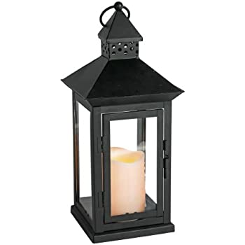 """Everlasting Glow Indoor/Outdoor 6"""" x 14"""" Lantern And LED Candle, Timer, Bisque"""