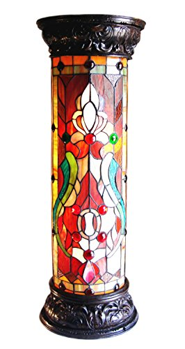 Chloe Lighting CH819405RV30-PL2 Ruby Spectacle Tiffany-Glass 2 Victorian Pedestal Fixture 30