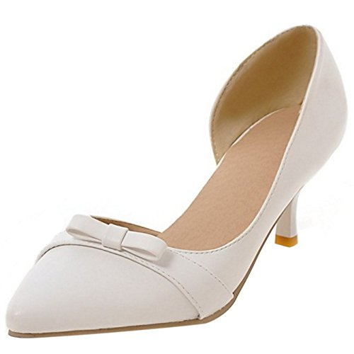 COOLCEPT Mujer Tacon Medio D'orsay Court sin Cordones Oficial Bombas Zapatos con Bowknot Blanco