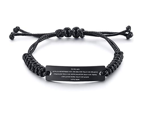 MEALGUET Stainless Steel Handmade Black Adjustable Cord Inspirational Courage Quote to My Son Bracelets to Boys,Birthday Graduation Gift Love Mom]()