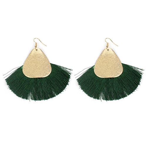 - Fashion Tassels Dangle Earrings Boho Plated Love Heart Hoop Earrings Hook for Women (Green)