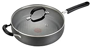 T-fal C03782 OptiCook Hard Anodized Thermo-Spot Scratch Resistant Titanium Nonstick Oven Safe PFOA Free Jumbo Cooker Saute Pan Fry Pan Cookware, 5-Quart, Black