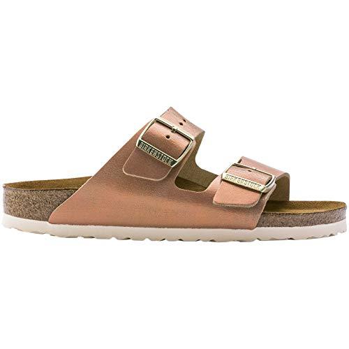 Birkenstock Unisex Arizona Suede Sea Copper Sandals 10 W / 8 M - Copper Metallic Leather